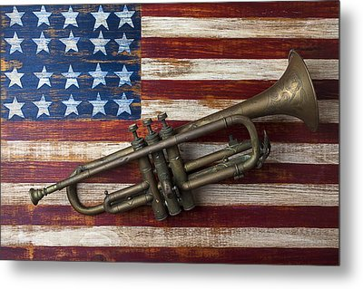 Old Trumpet On American Flag Metal Print by Garry Gay