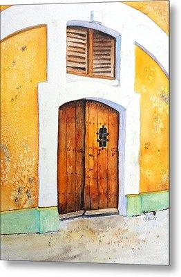Old Wood Door Arch And Shutters Metal Print by Carlin Blahnik
