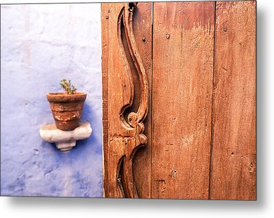 Old Wooden Door In Arequipa Metal Print by Jess Kraft