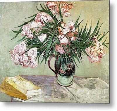 Oleanders And Books Metal Print by Vincent van Gogh