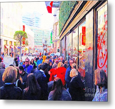 On The Day Before Christmas . Stockton Street San Francisco . Photo Artwork Metal Print by Wingsdomain Art and Photography