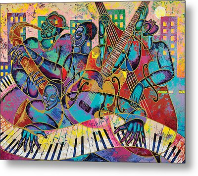 On The Main Stage Metal Print by Larry Poncho Brown