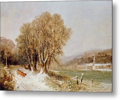 On The River Neckar Near Heidelberg Metal Print by Joseph Paul Pettit