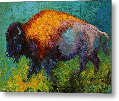 On The Run - Bison Metal Print by Marion Rose