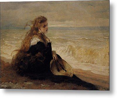 On The Seashore Metal Print by George Elgar Hicks
