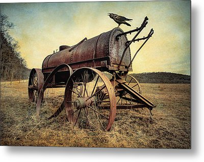 On The Water Wagon - Agricultural Relic Metal Print by Gary Heller