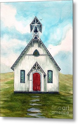 Once Upon A Sunday - Country Church Metal Print by Janine Riley