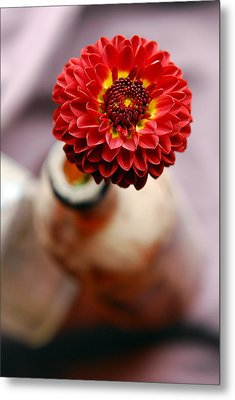 One Flower In Old Bottle Metal Print by Laura Mountainspring