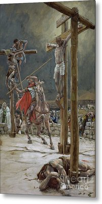 One Of The Soldiers With A Spear Pierced His Side Metal Print by Tissot