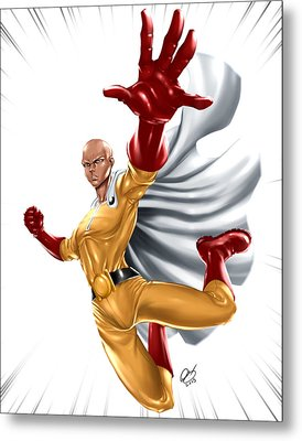 One Punch Man Metal Print by Pete Tapang