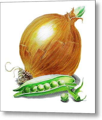 Onion And Peas Metal Print by Irina Sztukowski