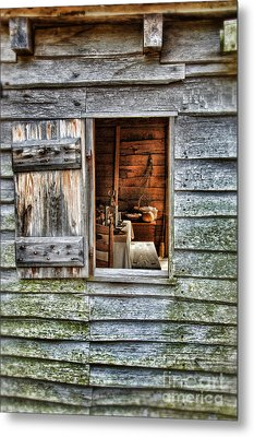 Open Window In Pioneer Home Metal Print by Jill Battaglia