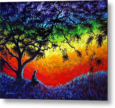 Opening The Chakras Meditation Metal Print by Laura Iverson