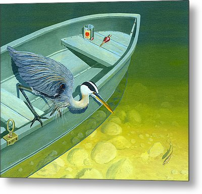 Opportunity-the Great Blue Heron Metal Print by Gary Giacomelli