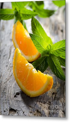 Orange And Mint Metal Print by Jelena Jovanovic