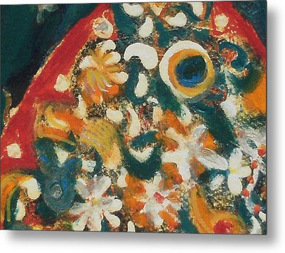 Orange And Multi Colored Fish Up Close Metal Print by Anne-Elizabeth Whiteway