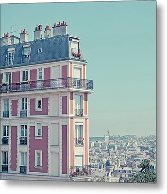 Orange Apartment Building With View Over Paris Metal Print by Cindy Prins