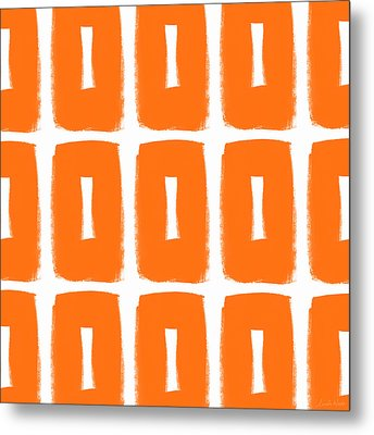 Orange Boxes- Art By Linda Woods Metal Print by Linda Woods