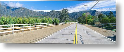 Orange Groves & Snow On Topa Topa Metal Print by Panoramic Images
