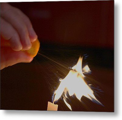 Orange Peel Flame Thrower. Metal Print by John King