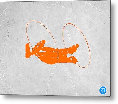 Orange Plane Metal Print by Naxart Studio