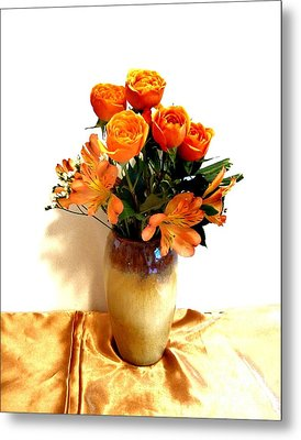 Orange Rose Bouquet Metal Print by Marsha Heiken