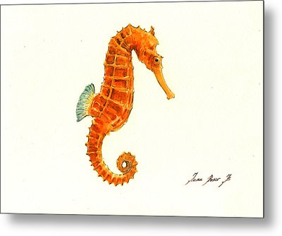 Orange Seahorse Metal Print by Juan Bosco