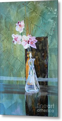 Orchids And A Rose Metal Print by Janet Felts