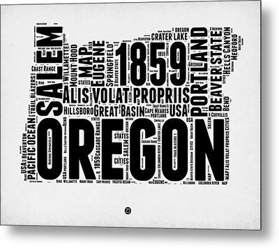 Oregon Word Cloud 1 Metal Print by Naxart Studio