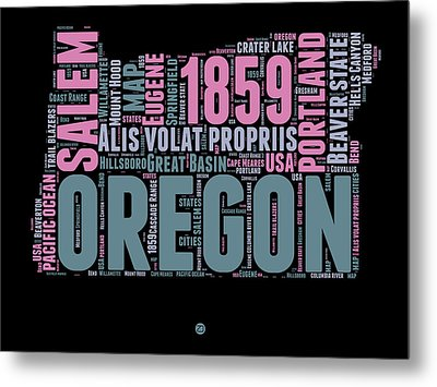 Oregon Word Cloud 2 Metal Print by Naxart Studio