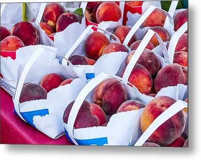 Organic Peaches At The Market Metal Print by Teri Virbickis