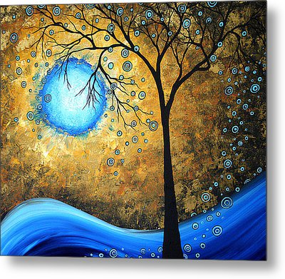 Orginal Abstract Landscape Painting Blue Fire By Madart Metal Print by Megan Duncanson
