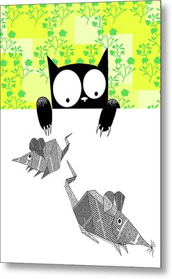 Origami Mice  Metal Print by Andrew Hitchen