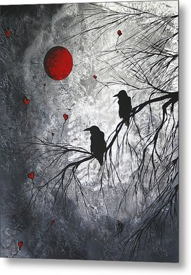 Original Abstract Surreal Raven Red Blood Moon Painting The Overseers By Madart Metal Print by Megan Duncanson