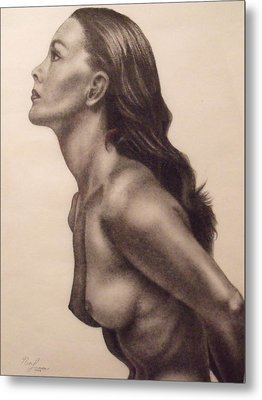 Original Charcoal Nude Female Profile Study Metal Print by Neal Luea