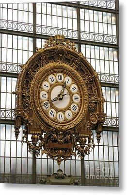 Ornate Orsay Clock Metal Print by Ann Horn