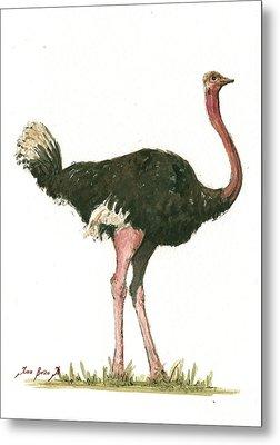 Ostrich Bird Metal Print by Juan Bosco