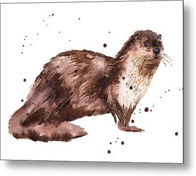 Otter Painting Metal Print by Alison Fennell