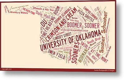 Ou Word Art University Of Oklahoma Metal Print by Roberta Peake