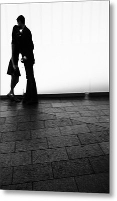 Out Of Focus Couple Kissing Metal Print by Gillham Studios