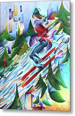 Outdoor Adventure-skiing Metal Print by Jessica Lynn Meath