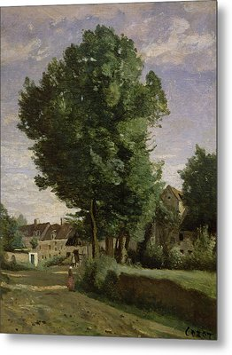 Outskirts Of A Village Near Beauvais Metal Print by Jean Baptiste Camille  Corot