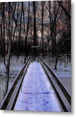 Over The Frozen River Metal Print by Scott Hovind