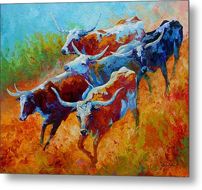 Over The Ridge - Longhorns Metal Print by Marion Rose