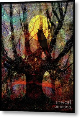 Owl And Willow Tree Metal Print by Mimulux patricia no