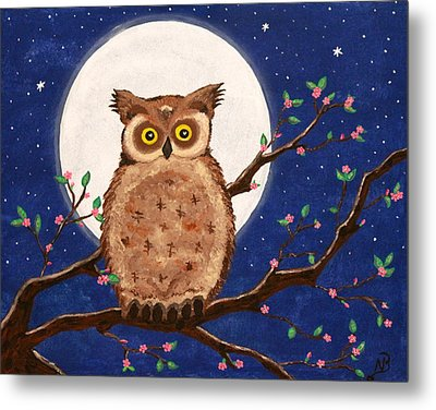 Owl In The Night Metal Print by Nina Bradica