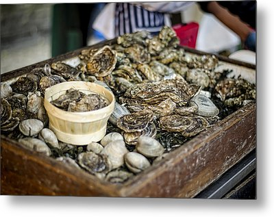Oysters At The Market Metal Print by Heather Applegate