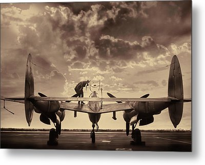 P38 Sunset Mission V2 Metal Print by Peter Chilelli