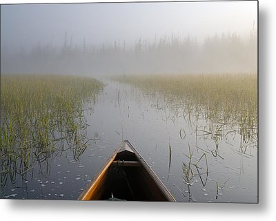 Paddling Into The Fog Metal Print by Larry Ricker