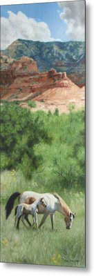 Paint Horses At Caprock Canyons Metal Print by Anna Rose Bain
